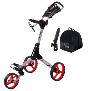 Skymax Cube 3 Wheel Trolley - Silver/Red + 2 Free Accessories