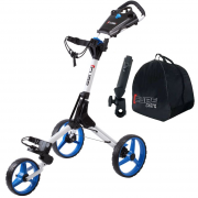 Skymax Cube 3 Wheel Trolley - White/Blue + 2 Free Accessories